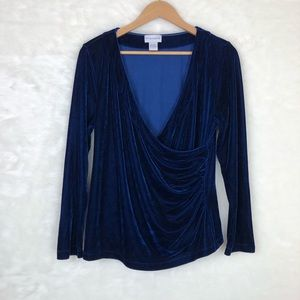 Soft Surroundings navy blue velvet shapely top